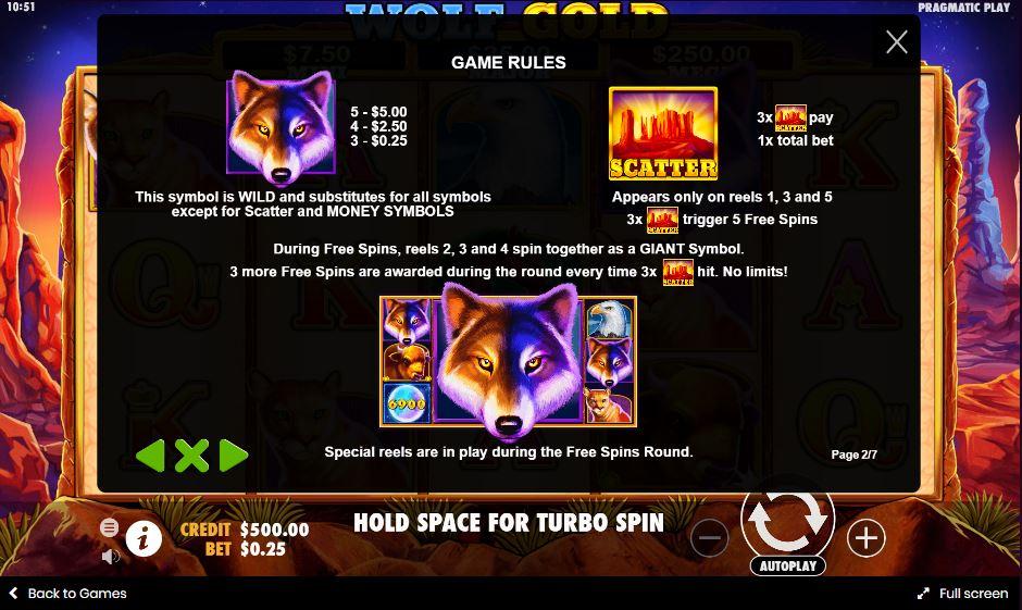 สัญลักษณ์พิเศษเกม Wolf Gold